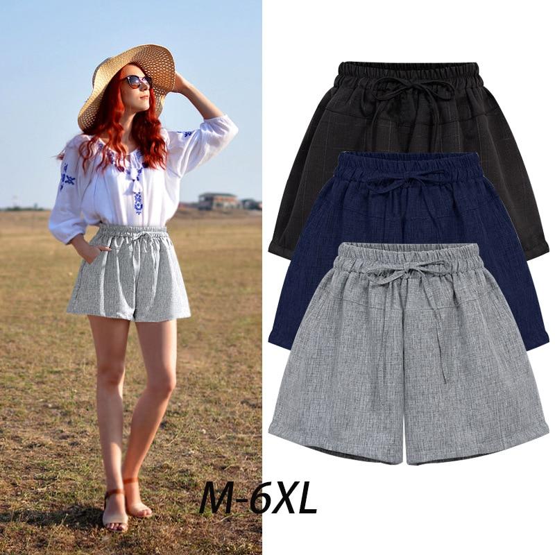 Verano mujer alta cintura suelta pierna ancha Shorts cortocircuitos  delgados ocasionales gran tamaño 6XL A- 3fe989295ea