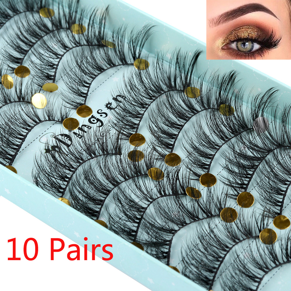 10Pairs 3D Faux Mink Hair False Eyelashes Fluffy Wispy Multilayer Flutter Eyelash Faux Mink Eye Lashes Extension Makeup Tools