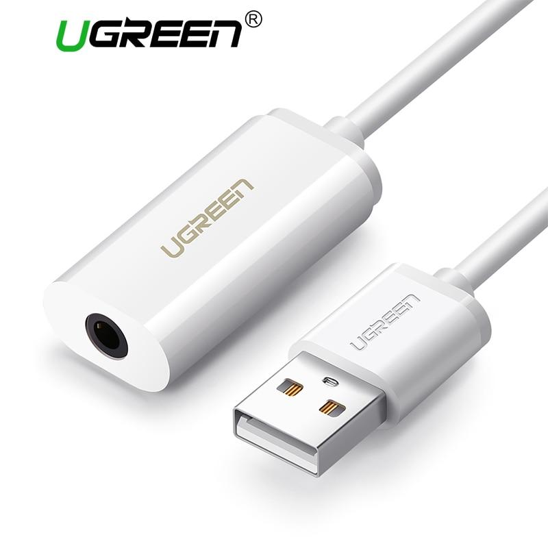 Ugreen 2-en-1 Externe Carte Son 3.5mm USB Adaptateur Audio Interface pour iPhone EarPods Écouteur Câble ordinateur USB Carte Son