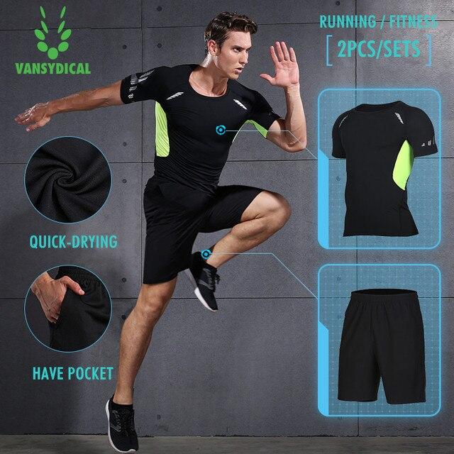 e7a4cb352750d Vansydical nueva compresión de los hombres trajes de deporte de secado  rápido Running sets ropa Joggers