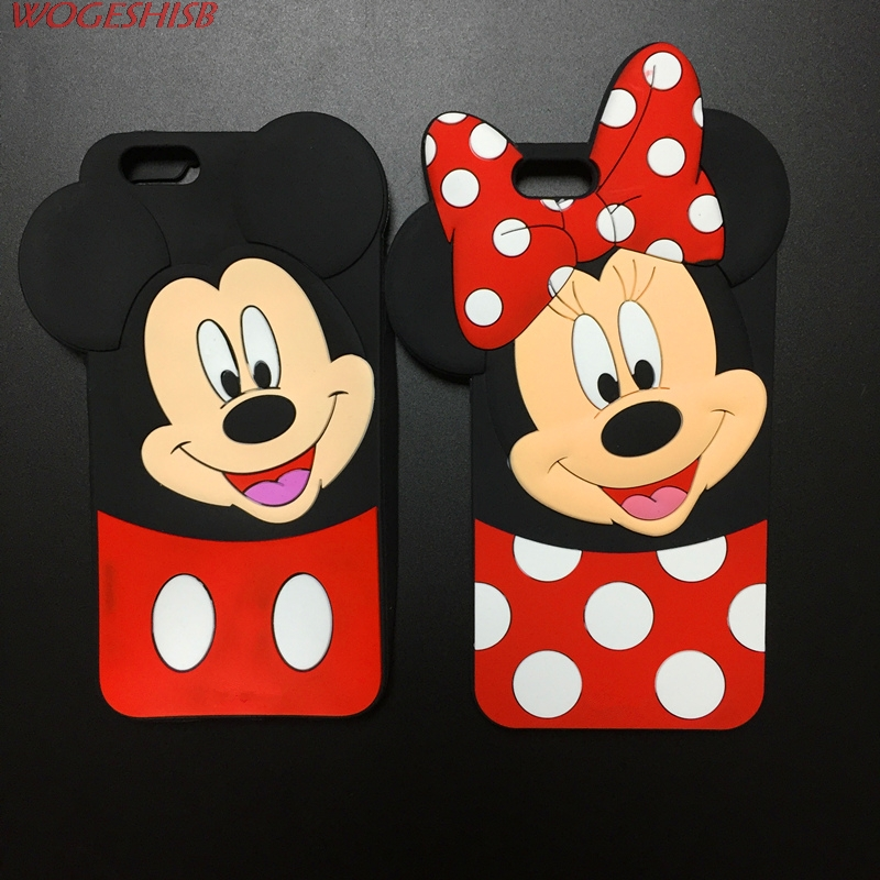 3D Cute Cartoon Smiling Minnie Mickey <font><b>Case</b></font> Soft Silicone Cover for iPhone SE 4 <font><b>4S</b></font> 5 5S 6 6S 7 7S 4.7&#8243; &#038; Plus 5.5&#8243; Rubber Shell