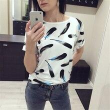 T-shirt do verão impressão simples feminino estudantes de algodão solto fino de todos os coincidir com pena branca T-shirt camisa de assentamento