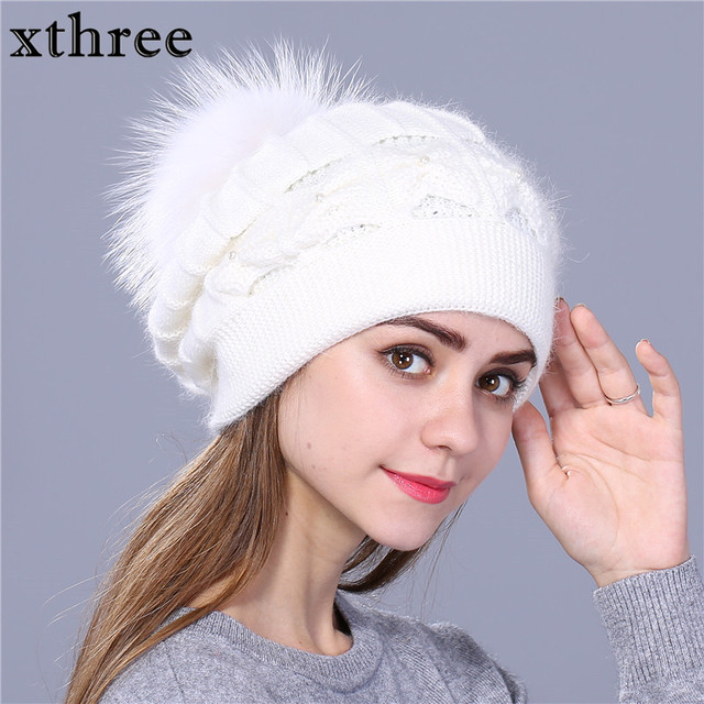 91535abd Xthree Winter Autumn beret hat for women knitted hat Rabbit fur beret with  mink pom pom solid colors fashion lady cap