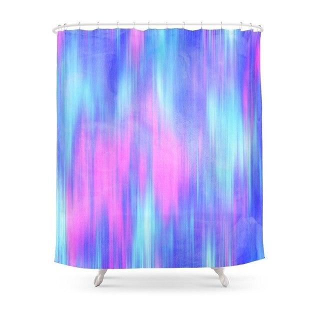 Aurora Blur Abstract In Pink Purple Aqua Royal Blue Shower Curtain Polyester Fabric Bathroom Home Waterproof Curtains