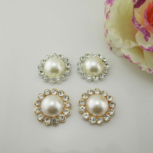 (BT250 22mm)5pcs Craft Pearl Crystal Rhinestone Buttons Flower Round  Cluster Flatback Wedding Embellishment eadd8eb151d8