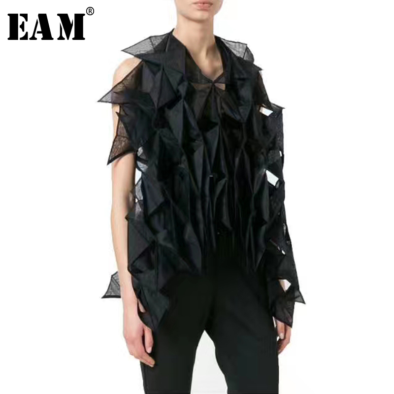 [EAM] 2019 New Spring Summer V collar Sleeveless Black Organza Leather Split Joint Ruffles Shirt Women Blouse Fashion JW607