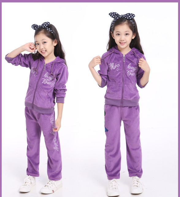 Winter Autumn Big Kids Clothes Girl Mickey Clothes Set Hoodies+Pant Set 2 Pieces Children Velvet Clothing for 5~16 years
