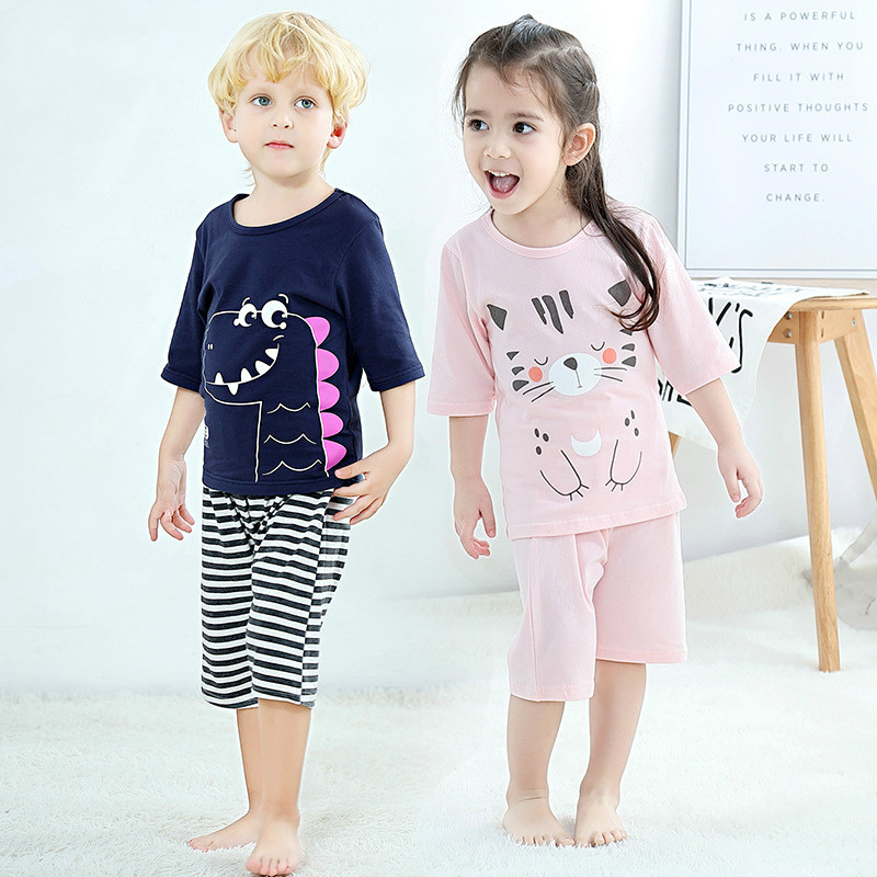 Kids   pajamas   children sleepwear baby boys girls   pajamas     sets   animal pyjamas Kids T-shirt+Pants pijamas cotton nightwear