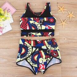 2019 женский купальник бикини с высокой талией и сеткой, 3XL размера плюс, купальный костюм, бикини с Африканским принтом, 2 предмета, одежда для ... 3
