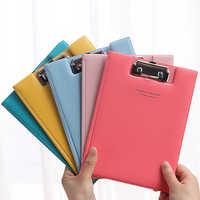 Waterproof A5 PU File Clipboard Flip Folder Contract Folder Student Writing Pad School Office Stationery Supply Random Color