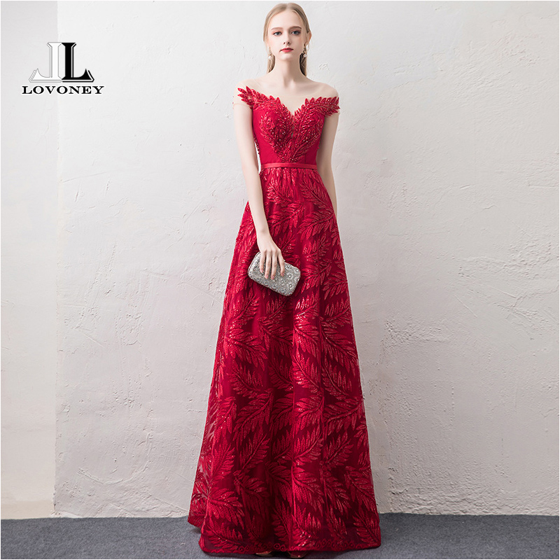 LOVONEY Short Sleeves   Evening     Dresses   Long Woman Occasion Party   Dresses   Formal   Dress     Evening   Gown Robe De Soiree XYG822
