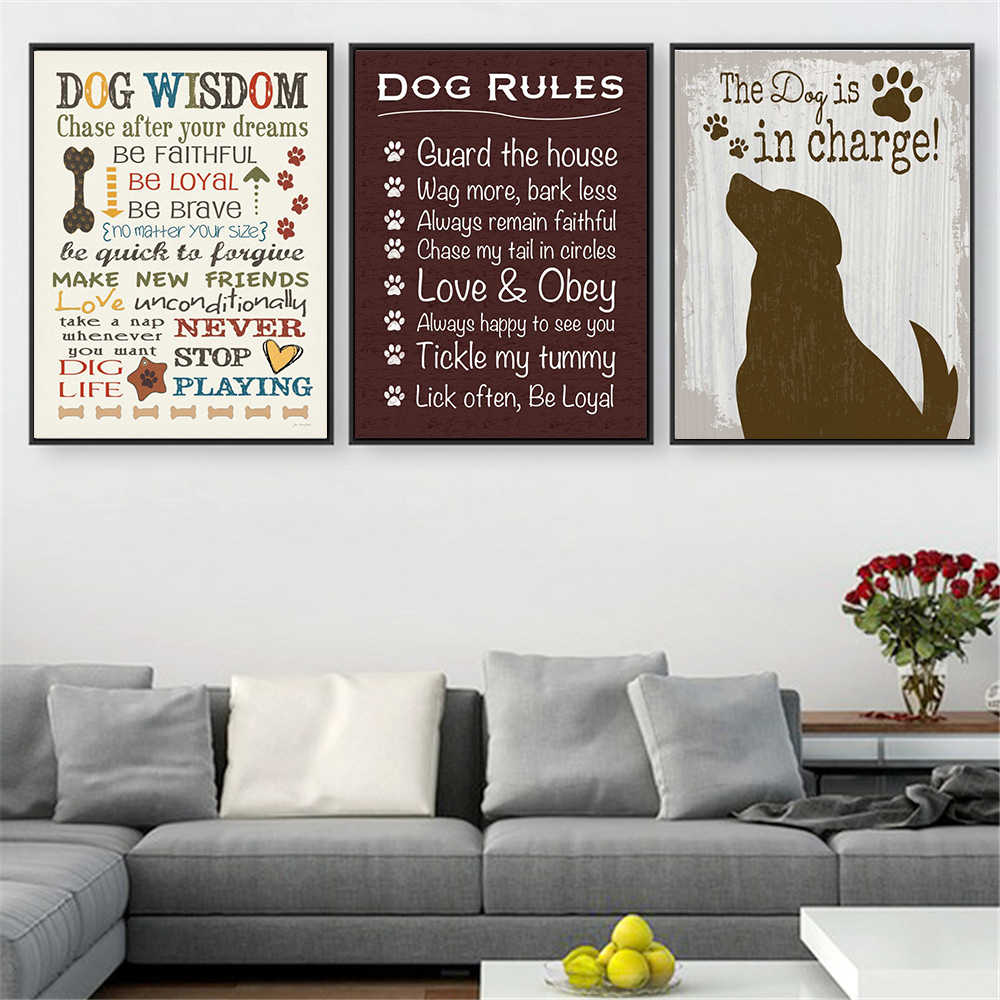 Vintage Poster Prints I Love My Dog Wisdom Canvas Pictures For Living Room Home Decor Hanging Wall Art Quotes Drop Shipping Painting Calligraphy Aliexpress