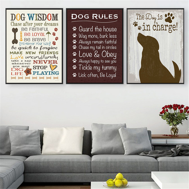 Vintage Poster Prints I Love My Dog Wisdom Canvas Pictures For