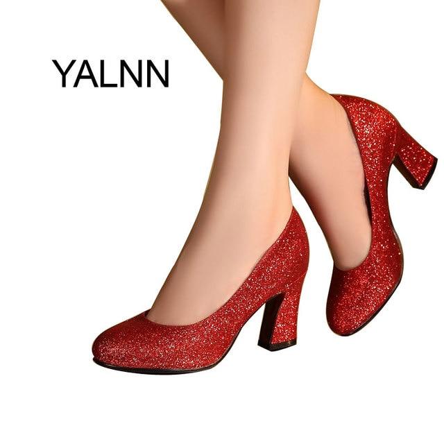 YALNN модные женские туфли на каблуке 7 см, свадебные туфли золотистого  цвета на высоком 97b779534c2