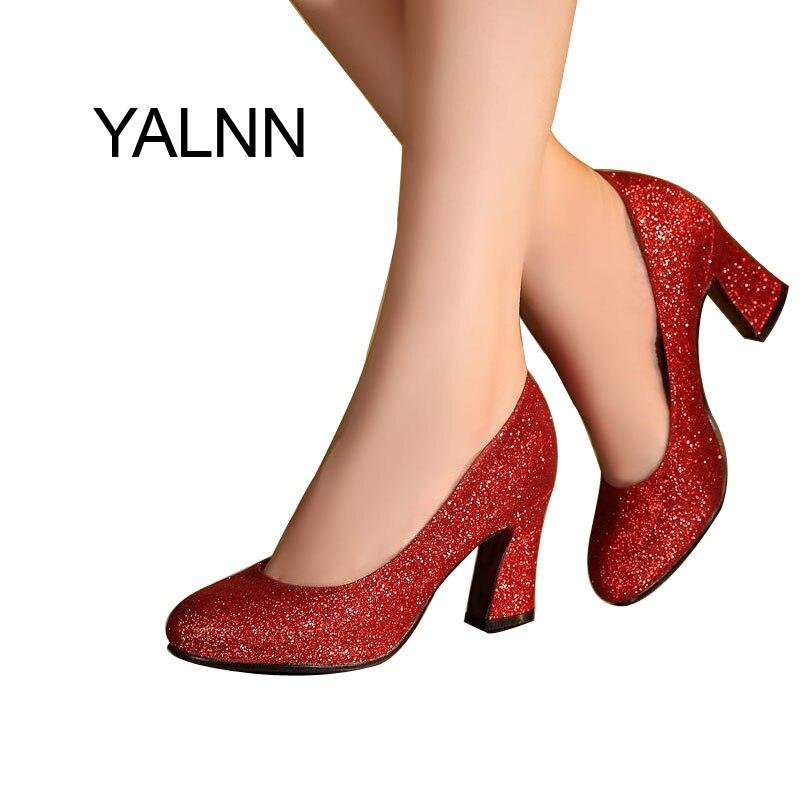 YALNN Fashion Women 7CM Heels Weeding Gold High Heel Shoes New Fashion High Heels Shoes Party Shoes Pumps for Women