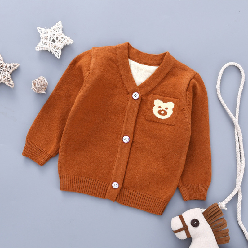 Bear Cute Baby Sweater Cardigan Cotton Knitted Sweater For Newborn Girls V-Neck Long Sleeve Baby Cardigan Outdoor Sweater Autumn (3)