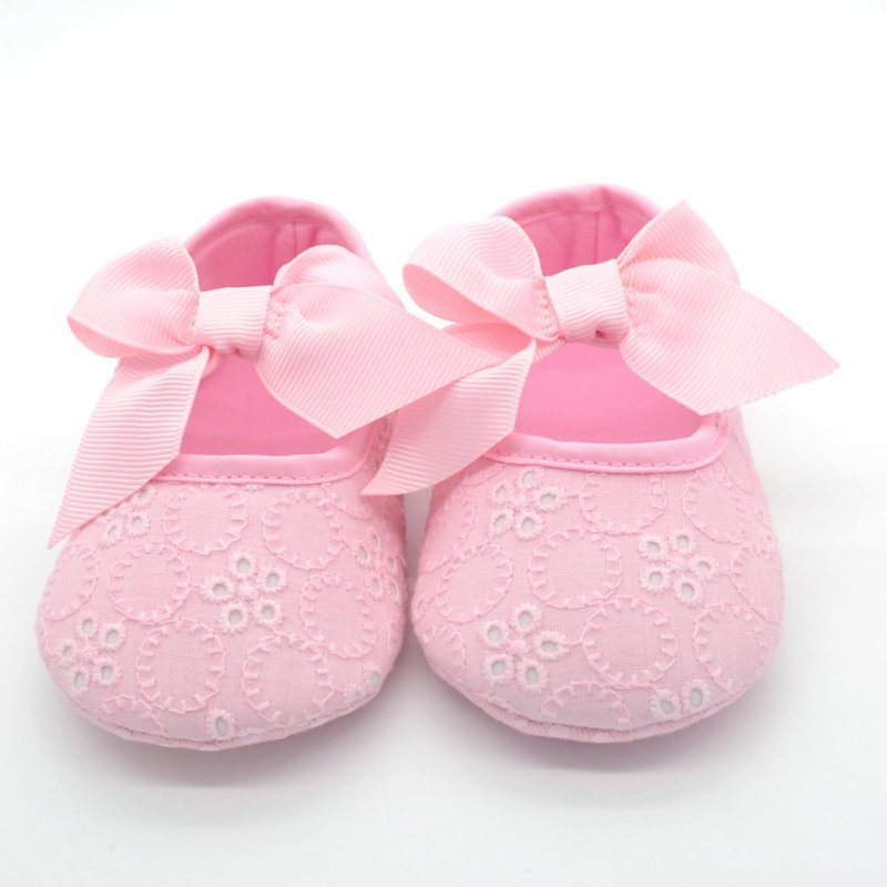 Baby Girl Lace Shoes Toddler Prewalker Anti-Slip Shoes Simple Butterfly-knot Baby Shoes