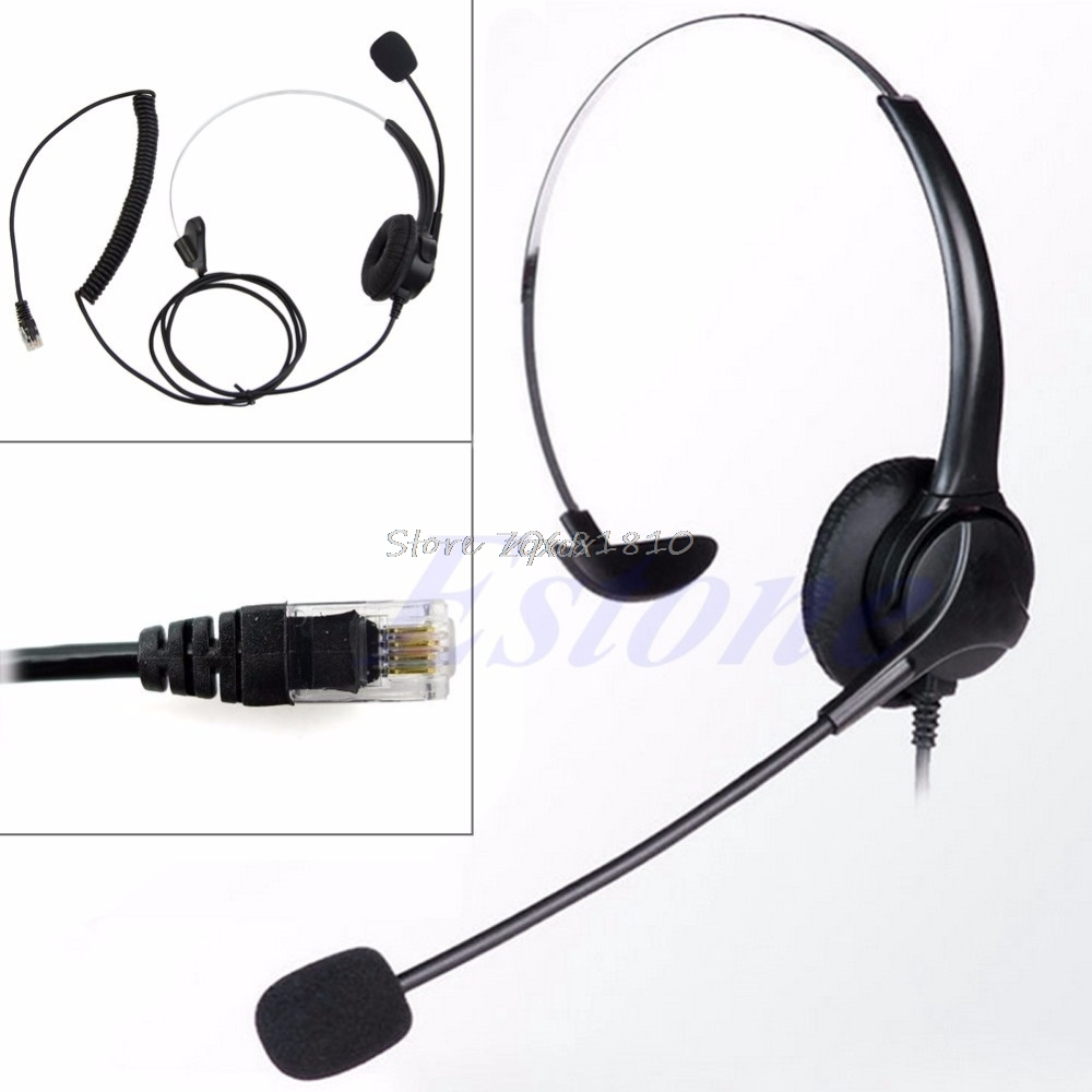 4-Pin RJ11 Corded Telephone Headset Call Center Operator Monaural Headphone Z07 Drop ship