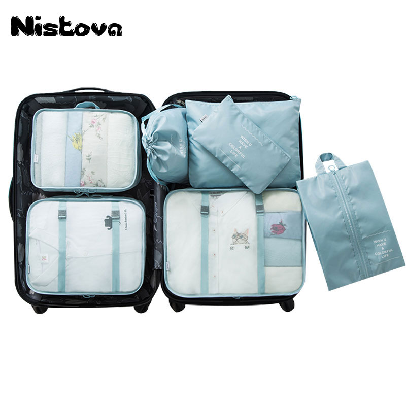 7Pcs/set Clothes Packing Cubes Set,Travel Storage Organizers Bags Compression Pouches for Carry-on Luggage Suitcase and Shoe Bag clothes vacuum packing clothes storage bags