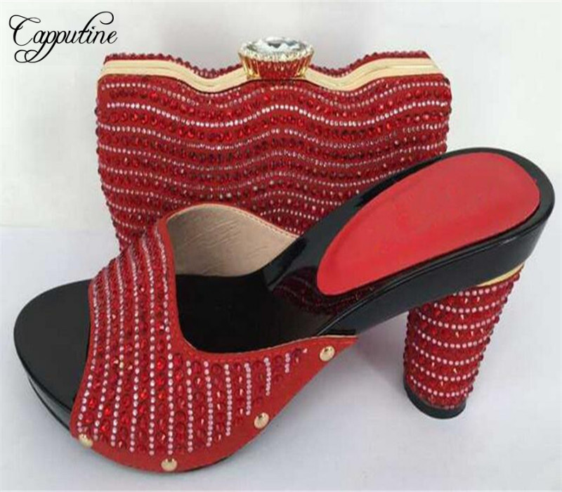 Capputine Latest African Rhinestone Women Shoes and Bags Set For Wedding Party Italian Style High Heels Shoes And Bag Set capputine high quality crystal super high heels shoes and bag set italian style woman shoes and bag set for wedding party g33
