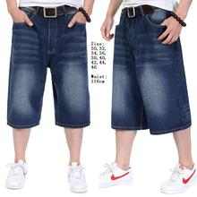 Plus Size 30-46(waist 116cm)Hip hop jeans light stonewashed cat's whisker men loose 7 minutes of pants