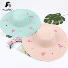 Flamingos Pattern Women Straw Sun Hats Large Wide Floppy Brim Female Summer Caps Fashion Ladies Panama Beach Chapeu 2018