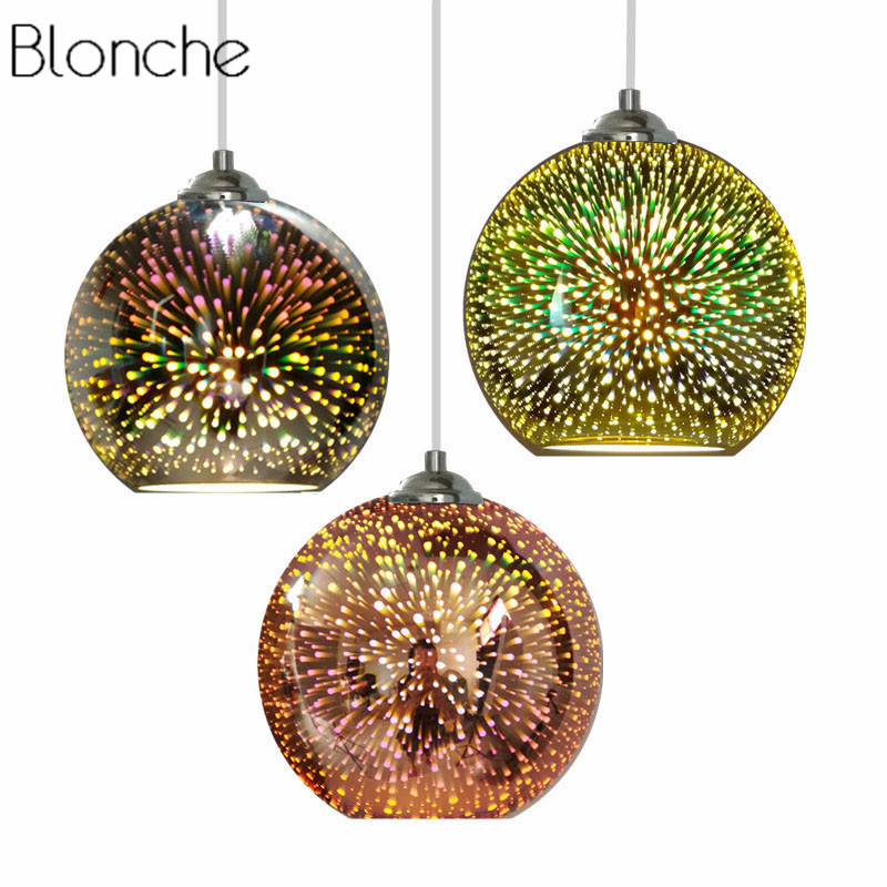 Vintage 3D Led Pendant Light Colorful Glass Hang Lamp Mirror Ball Light Fixture for Home Decor Modern Bedroom Kitchen Luminaire fashion led bulb glass ball pendant chandelier colorful diy art colorful ball ceiling lamp lantern fixture