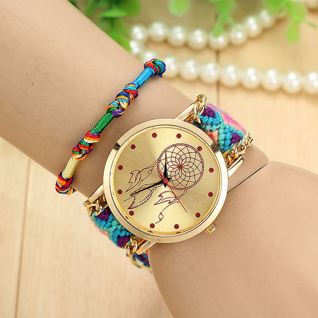 Handmade Braided Dreamcatcher Friendship Bracelet Watch Ladies Rope Watch Quarzt Watches Relogio Feminino  5