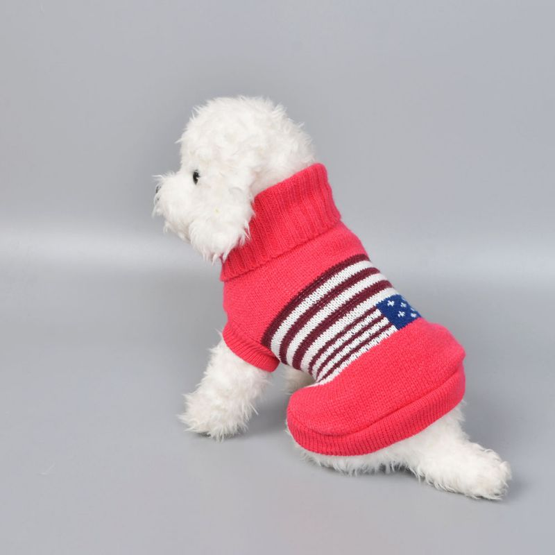 Autumn Winter Pet Wave Patterns Colorful Sweater for Small Medium Dogs Puppy Warm Costume Coat