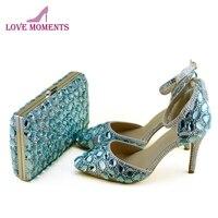 2018 Весна и лето синий со стразами обувь с подходящая Сумочка Для женщин свадебные туфли острый носок и Высокий каблук с Ремешок на щиколотке
