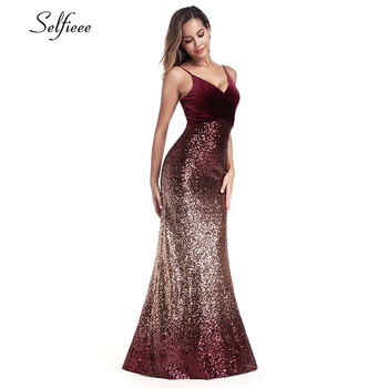 Sequined Burgundy Women Dresses Spaghetti Straps V-Neck Elegant Sparkle Maxi Dresses Woman Party Night Dresses Robe Femme 2020 2