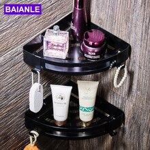 BAIANLE Bathroom Shelves Black Stainless Steel Wall Mounted Shower Caddy Rack Bath Accessories