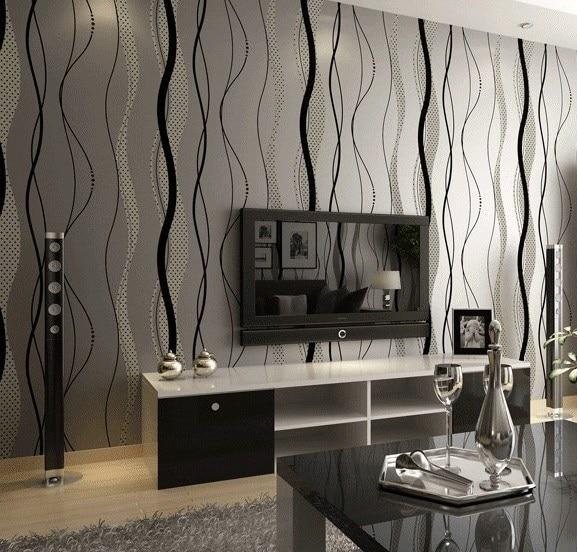 US $26.34 11% di SCONTO|Moderno stile semplice colore nero onda a righe  carta da parati per soggiorno in Moderno stile semplice colore nero onda a  ...