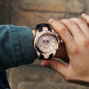 Image 3 - メンズ腕時計 3D 海賊スカルスタイルクォーツトップブランド腕時計メンズミリタリーシリコーンスポーツメンズ腕時計防水レロジオ Masculino