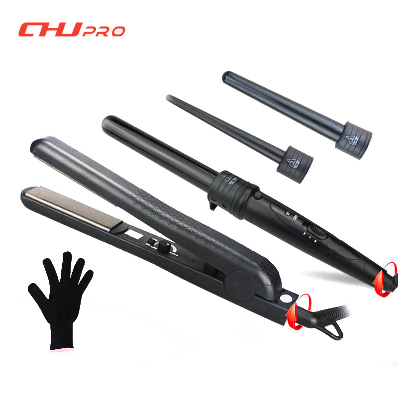 Interchangeable Hair Curling Iron Machine Ceramic Hair Curler Set With Hair Straightener High Quality Curling Wand Styling Tool ckeyin 9 31mm ceramic curling iron hair waver wave machine magic spiral hair curler roller curling wand hair styler styling tool