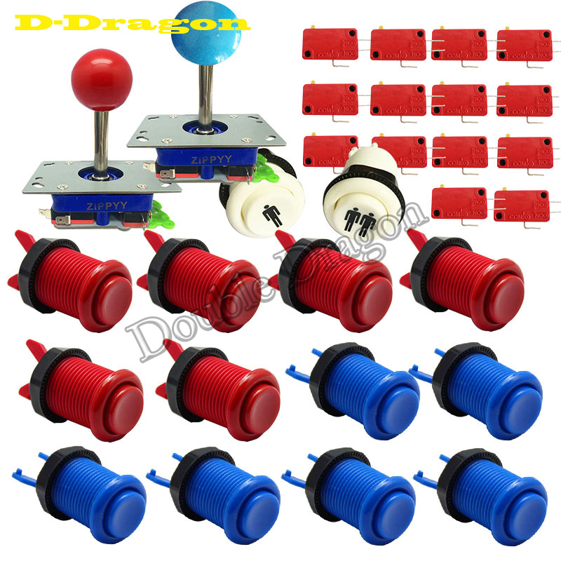 Hikig 6x LED Arcade Buttons Blue Built-in Micro Switch 30mm 5V LED Buttons for DIY Arcade MAME JAMMA Cabinet Games