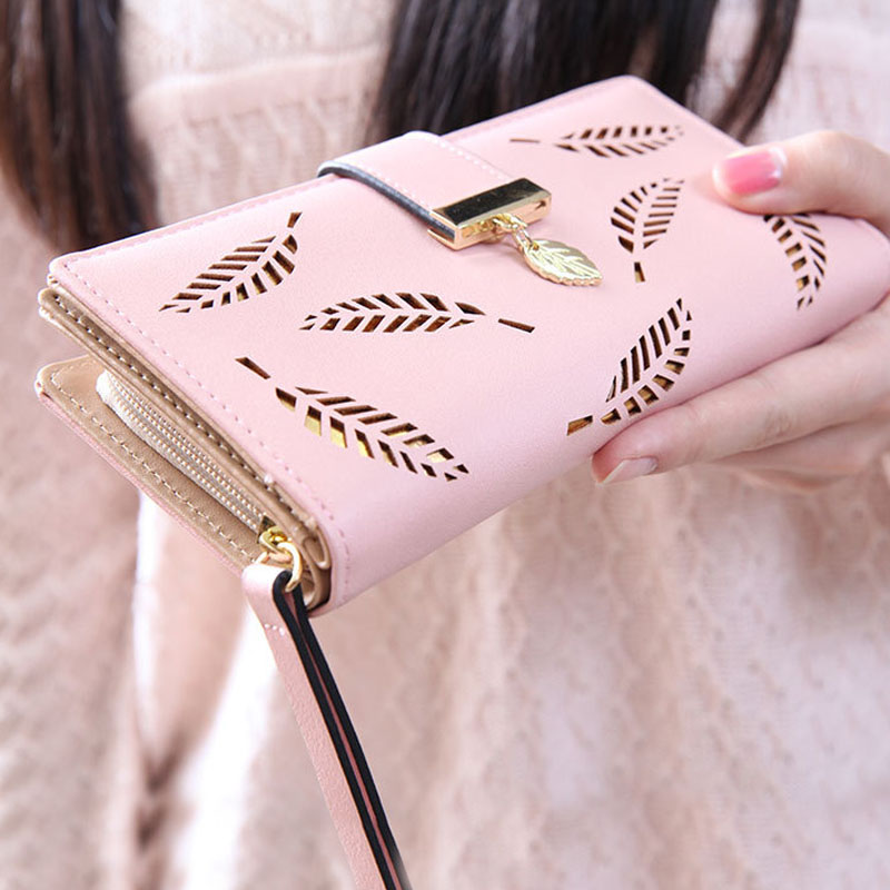 Fashion Womens Wallets Hollow Leaves Women Wallet Hasp Purses Long Section Clutch Wallet Soft PU Leather ID Holder Money Bag