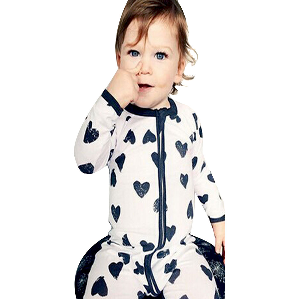 2017 Newborn Infant Baby Boy Girl Heart-shaped Cute Printed Long Sleeve Pants Rompers Jumpsuit Pajamas Cotton newborn baby boy rompers overalls long sleeve infant jumpsuit clothing cotton monkey girl children pajamas costumes outwear