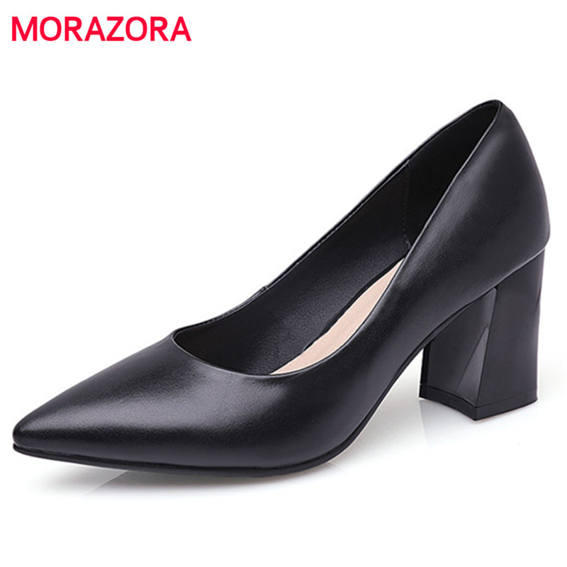 MORAZORA Square heels shoes 7cm office career work shoes woman solid pointed toe women genuine leather shoes pumps shallow korean woman high heel pointed toe solid mujer pumps shallow mouth square heels womens shoes work office lady all match tacones