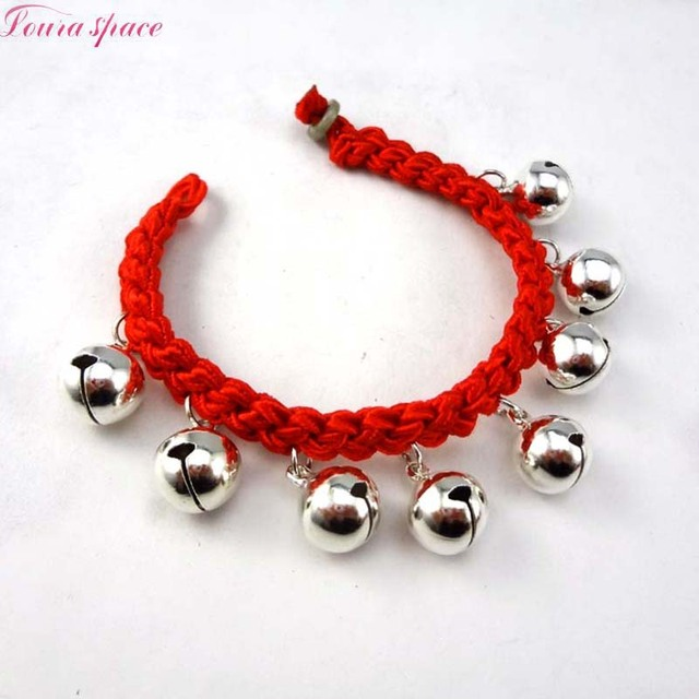 Loura Shace Lovely Silver Gold Bells Baby Bracelet With Red Rope Bell Pendants Foot Jewelry