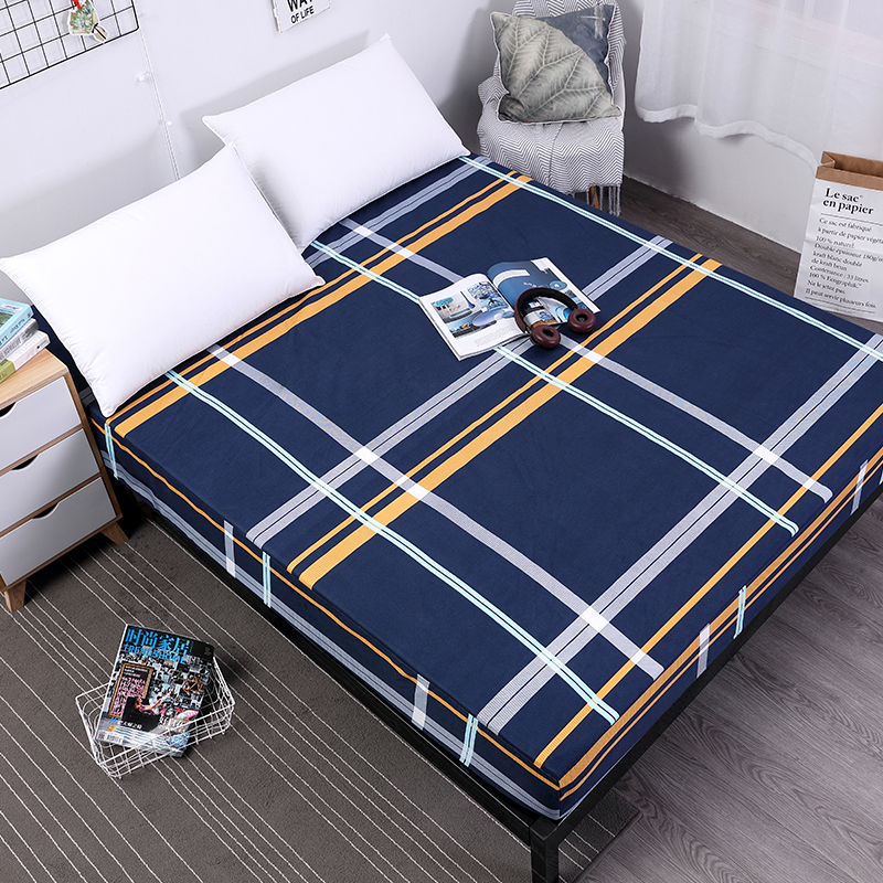 Plaid Printing Waterproof Sheet Four Corners With Elastic Band Comfortable Mattress Protector For Bed Wetting Anti-mite 1 PC
