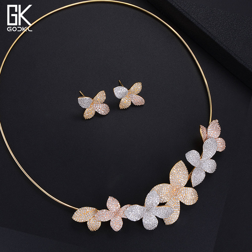 GODKI Luxury Flowers Necklace Earring Sets Cubic Zircon jewelry Sets for women Wedding African Indian Gold Bridal Jewelry Sets round flowers pendant necklace and stud earring jewelry set for women with aaa cubic zircon hight quality fashion jewelry sets