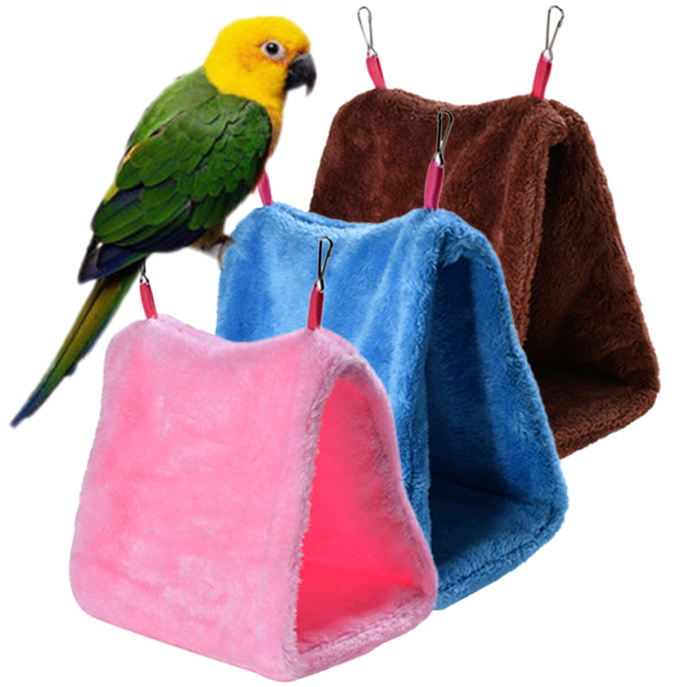 New Bird Nest Soft Plush Snuggle Hanging Cave Parrot Budgie Toy Cage Hammock Bunk Bed