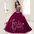 Purple Red 2016 Sweetheart Quinceanera Dress vestidos de 15 anos for Beauty Peagent with Beading Crystal debutante gowns