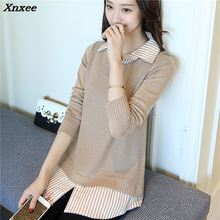 Xnxee new spring Korean long sleeved shirt collar sweater sleeve head fake two piece