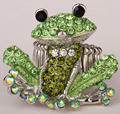 Frog stretch ring for women summer silk scarf jewelry antique silver plated W crystal wholesale dropship