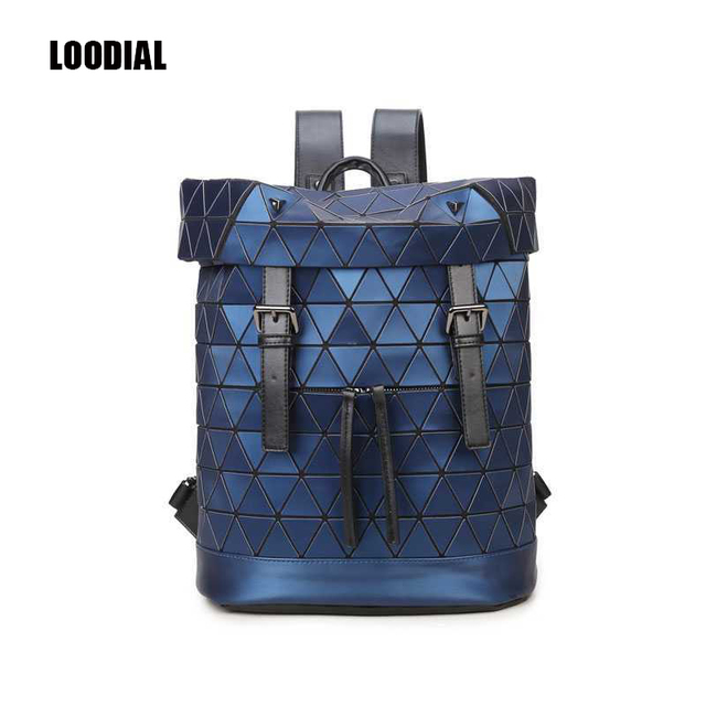 Loodial New Women Matte Bao Backpack Geometric Shoulder Bag Men School Hologram Luminous Laptop