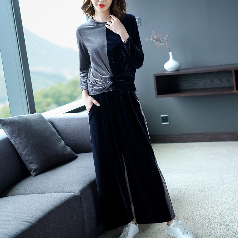 Velvet O-neck Long Sleeve Pullovers T-shirts And Elastic Knit Wide Leg Loose Pant 2 Piece Pants Suits 2018 New Women Autumn Suit