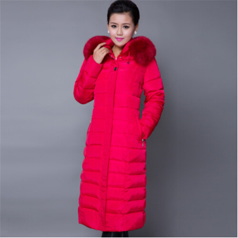 2017 Black Red Winter Jacket Fashion Women Long Cotton Coat Plus Size Parka Mujer Ladies Hooded Warm Fur Collar Outerwear C1599