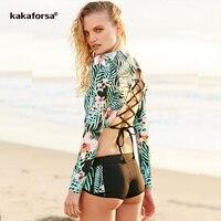 Kakaforsa 2017 M 5XL Plus Size Bikini Set Women Sexy Backless Surfing Swimwear Floral Print Large